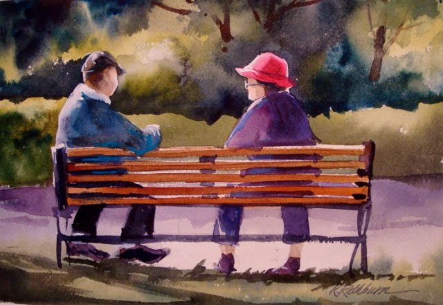 """""""Old Friends Sat on a Park Bench Like Bookends"""" original fine art by Kathy Los-Rathburn"""