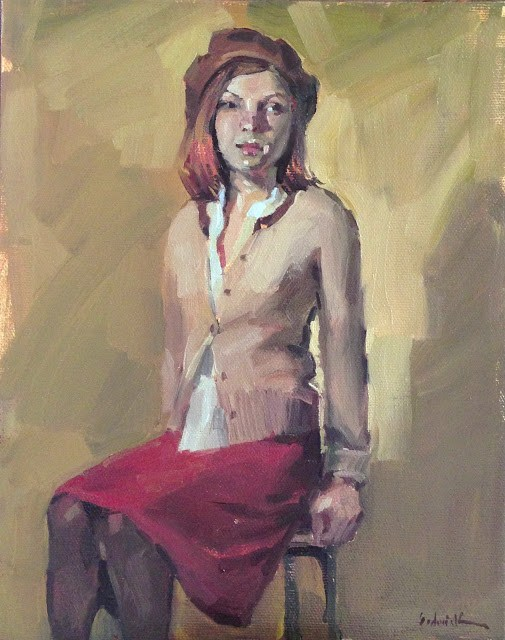 """The Brown Beret"" original fine art by Sarah Sedwick"
