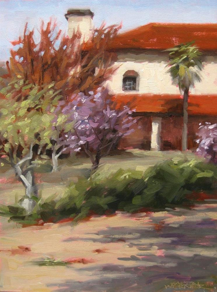 """""""Mission Courtyard"""" original fine art by Karen Werner"""