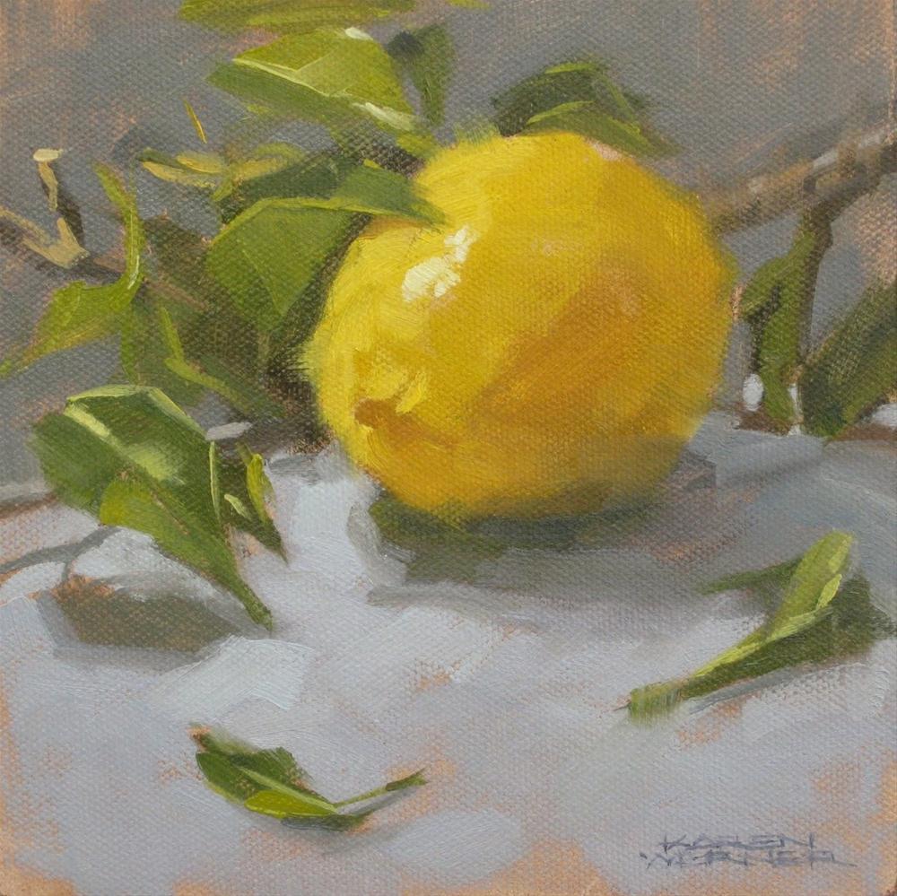 """""""Lemon & Leaves"""" original fine art by Karen Werner"""