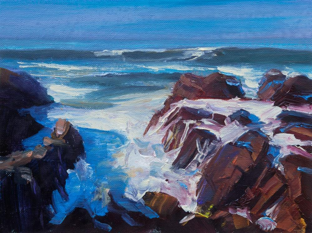 """Good Morning Spanish Bay, Asilomar Beach, 6x8"" original fine art by Pavel Gazur"