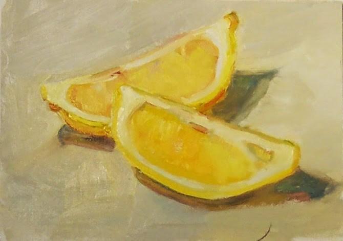 """Lemon Wedges,still life, oil on canvas,5x7,priceNFS"" original fine art by Joy Olney"