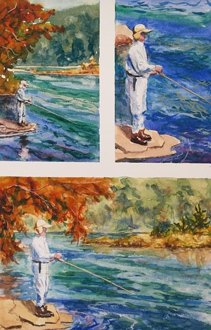 """Fishing at North South Lake – watercolor miniatures"" original fine art by Jamie Williams Grossman"