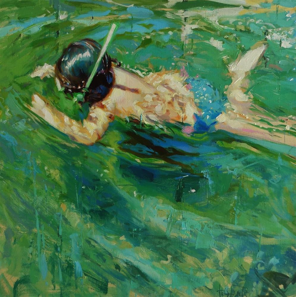"""Diving"" original fine art by Víctor Tristante"