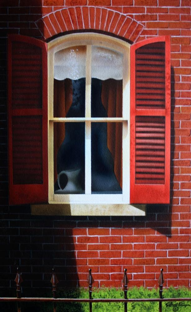 """""""Window with Red Shutters"""" original fine art by Fred Schollmeyer"""