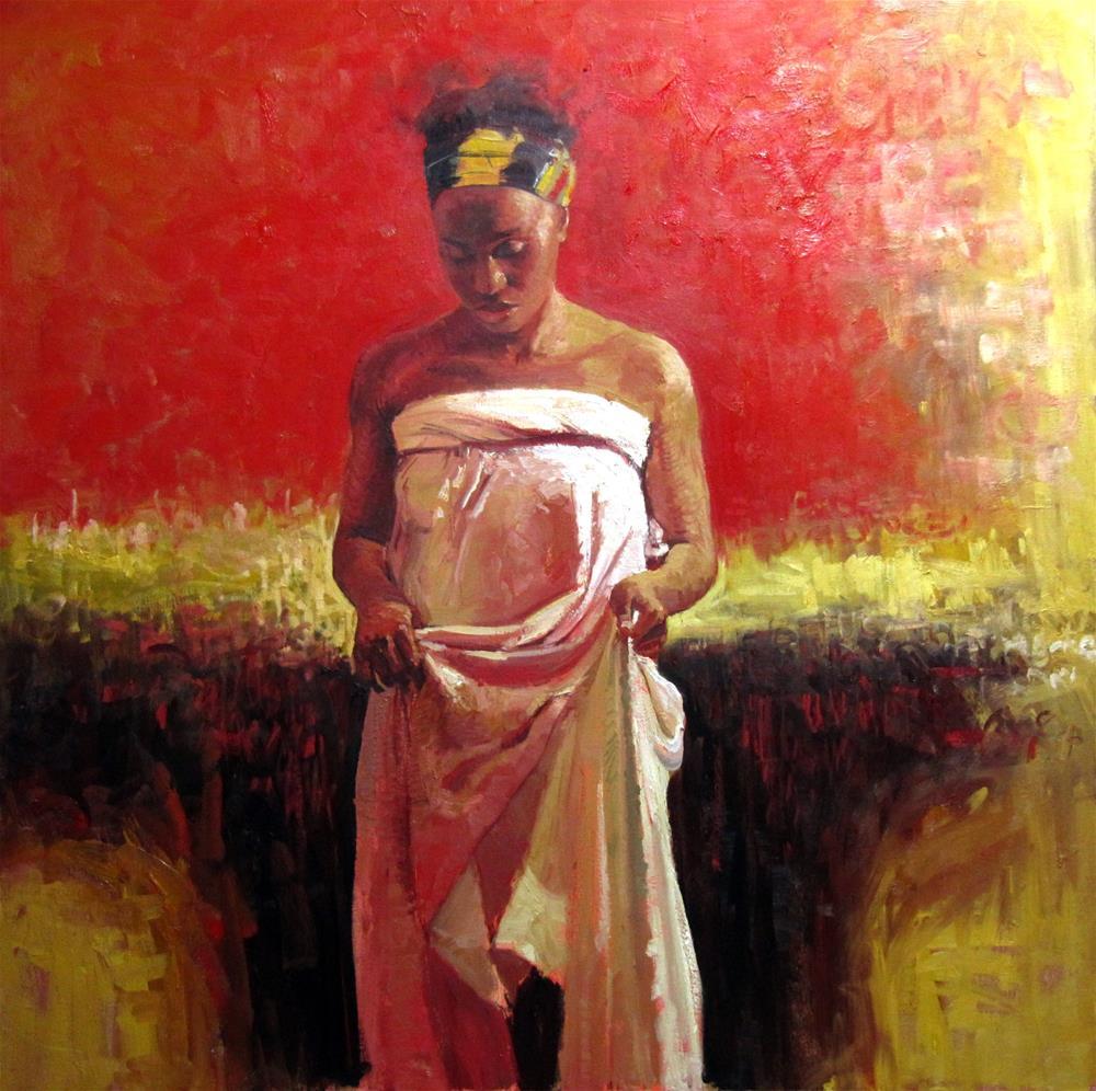 """The African Wrapper III"" original fine art by Adebanji Alade"