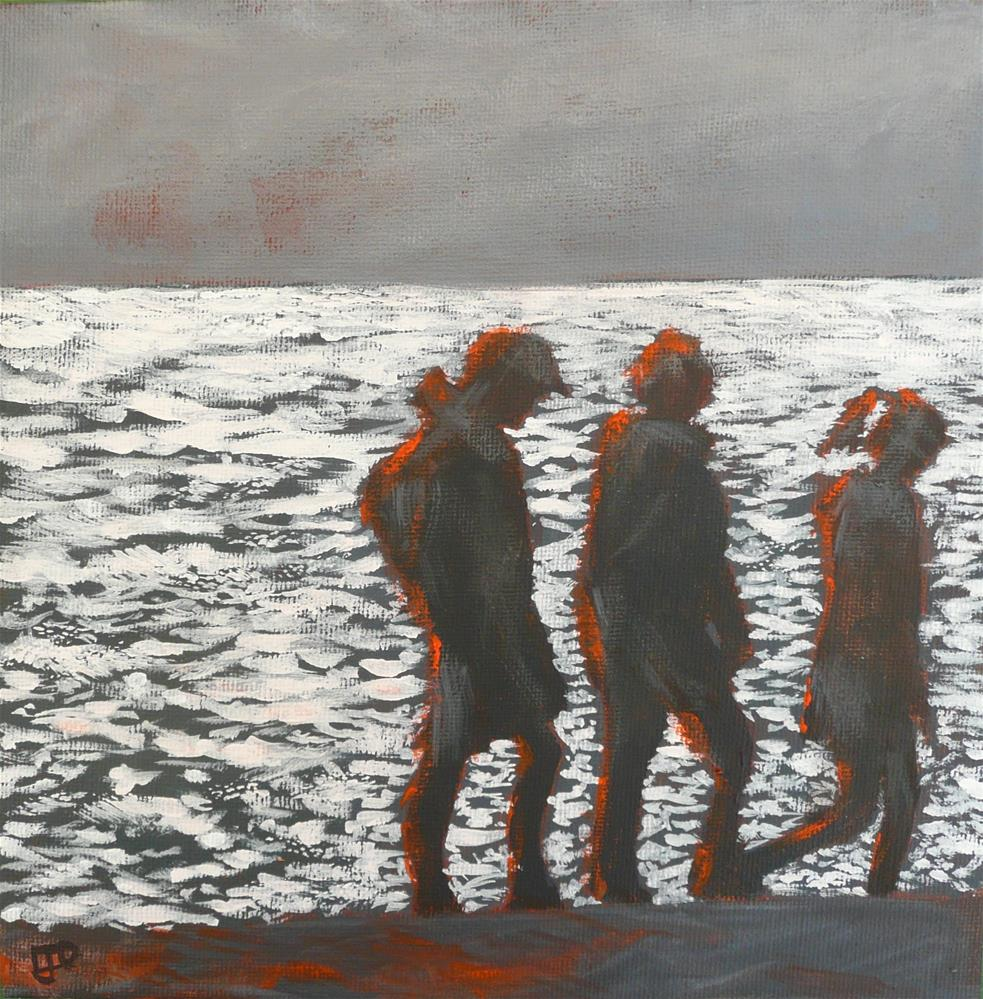 """Silhouettes On The Sand"" original fine art by Leanne Owen"