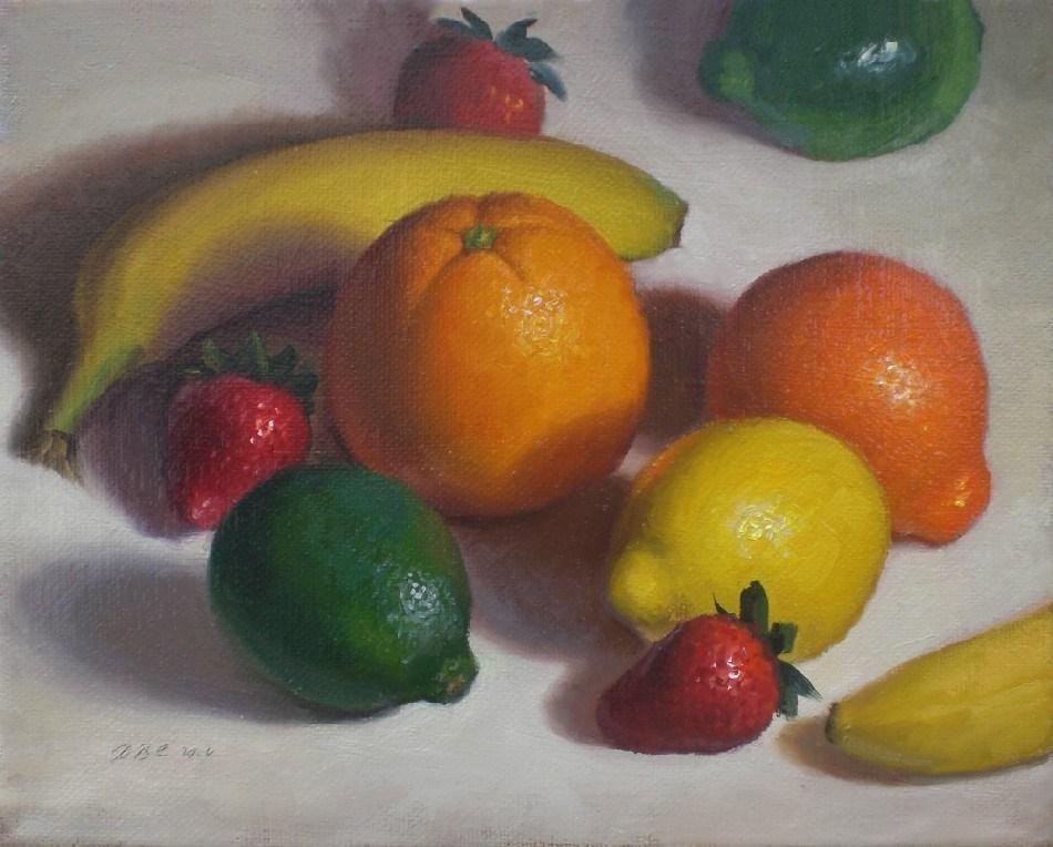 """Citrus, Bananas and Strawberries"" original fine art by Debra Becks Cooper"