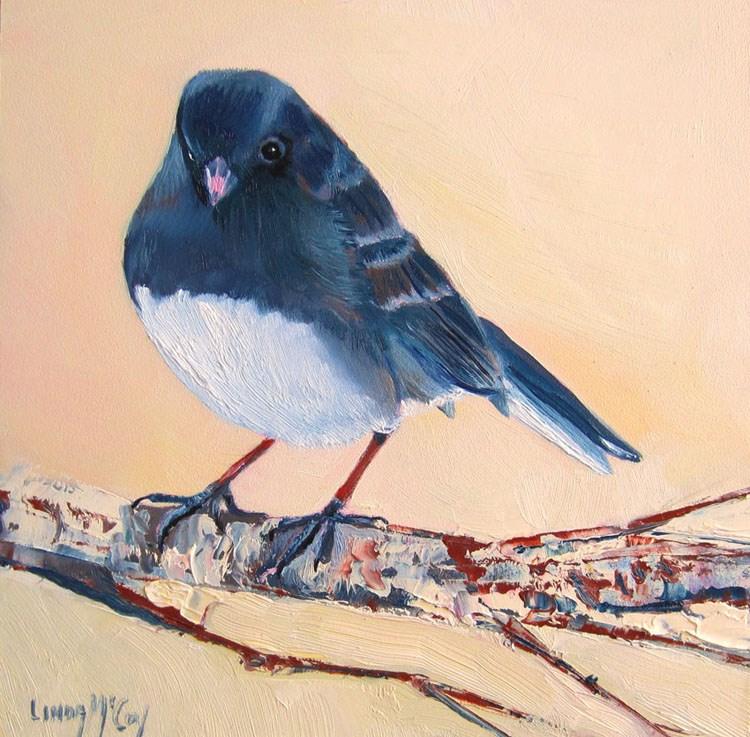 """Junco, Bird Oil Painting by Linda McCoy"" original fine art by Linda McCoy"