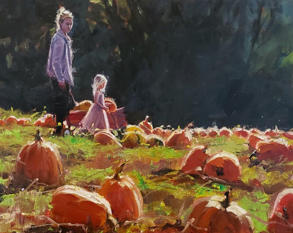 """The Pumpkin Princess paintings from the pumpkin patch by Robin Weiss"" original fine art by Robin Weiss"