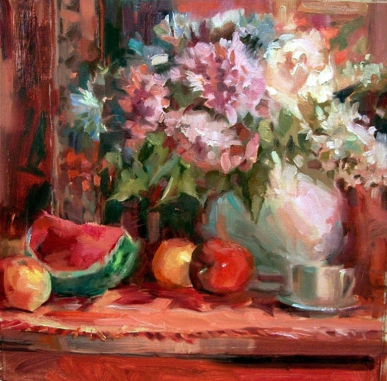 """Fruit & Flowers"" original fine art by Mary Maxam"