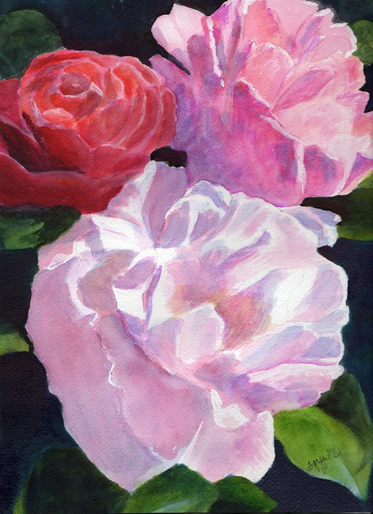 """""""THREE PINK ROSES"""" original fine art by Bunny Griffeth"""