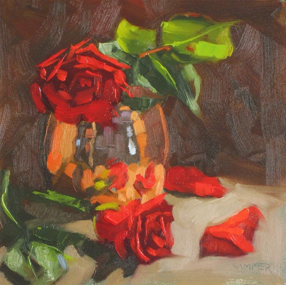 """Two roses 6x6  oil"" original fine art by Claudia Hammer"
