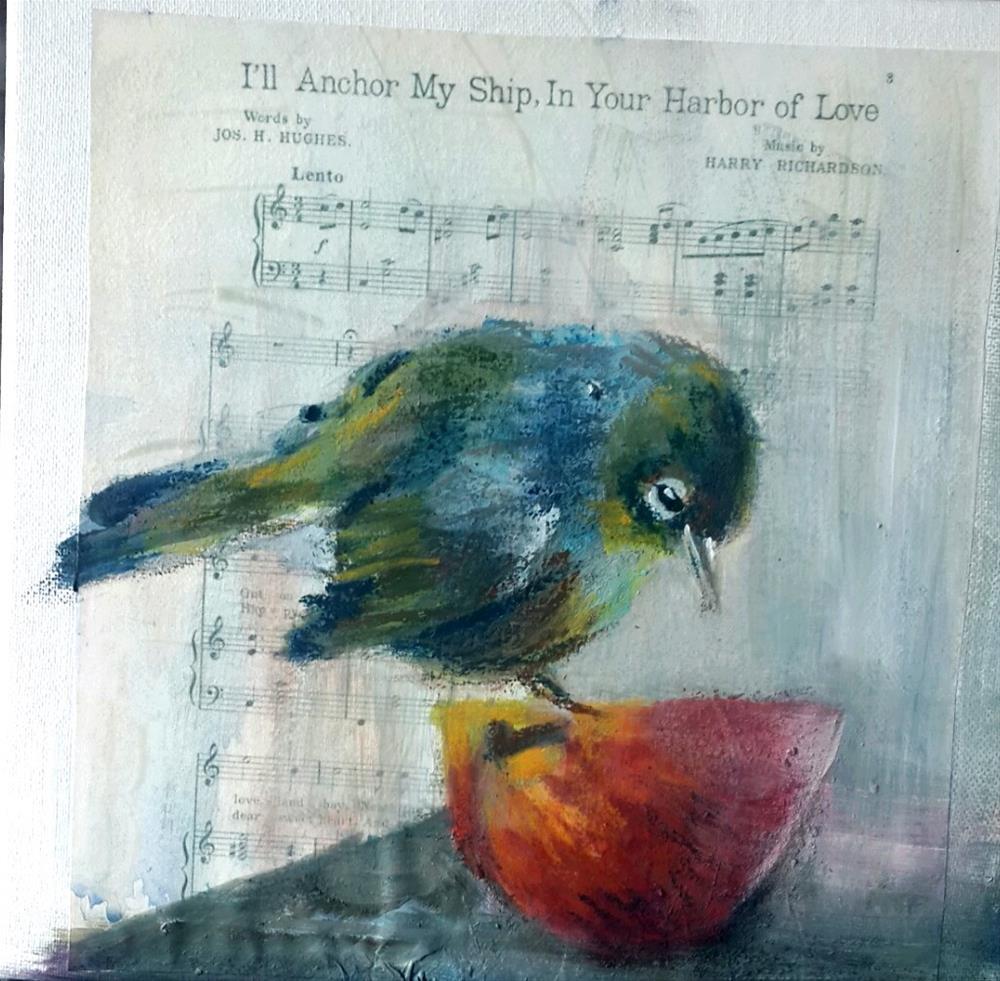"""""""Birdsong 4"""" original fine art by Rentia Coetzee"""