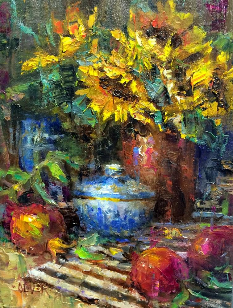 """""""Pomegranates and Sunflowers - day 18 in the challenge"""" original fine art by Julie Ford Oliver"""