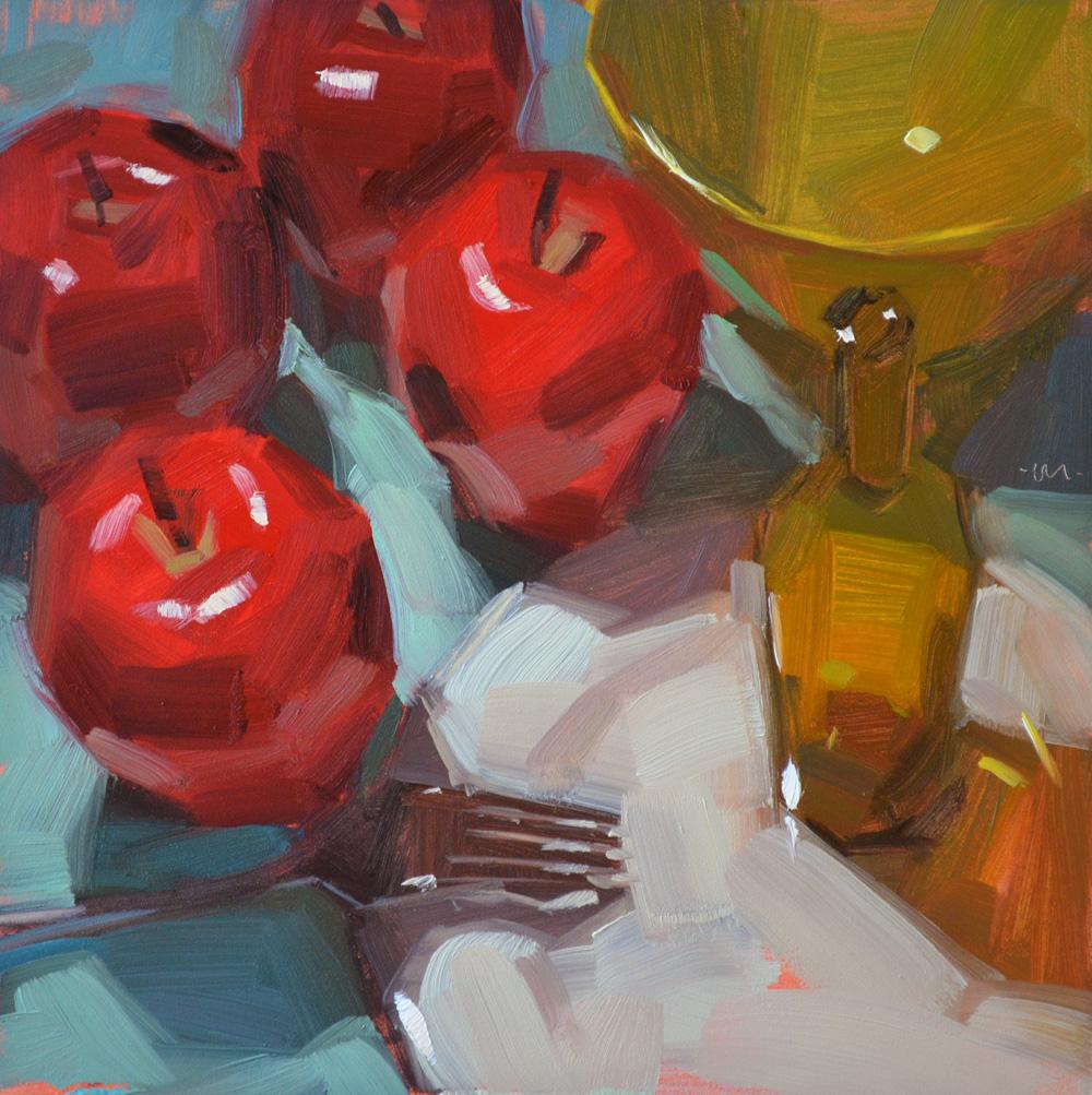 """Rioting Apples"" original fine art by Carol Marine"