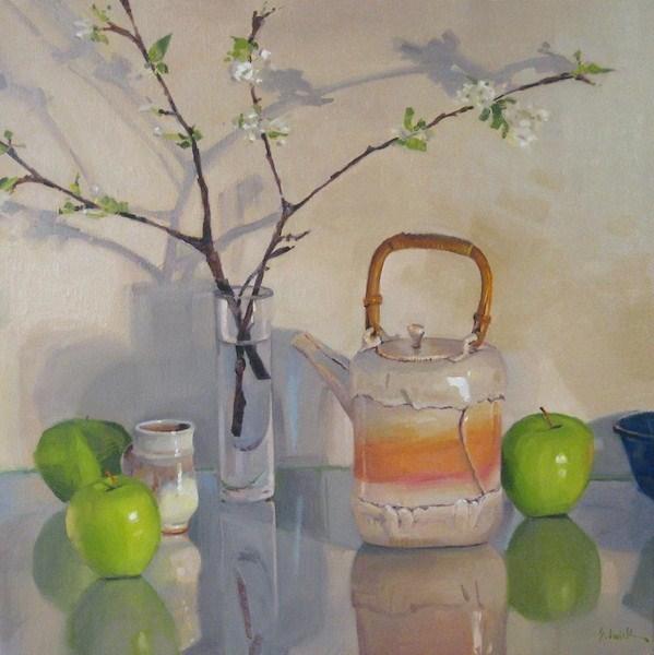 """Branching Shadows large still life oil painting fruit flowers teapot green apples"" original fine art by Sarah Sedwick"