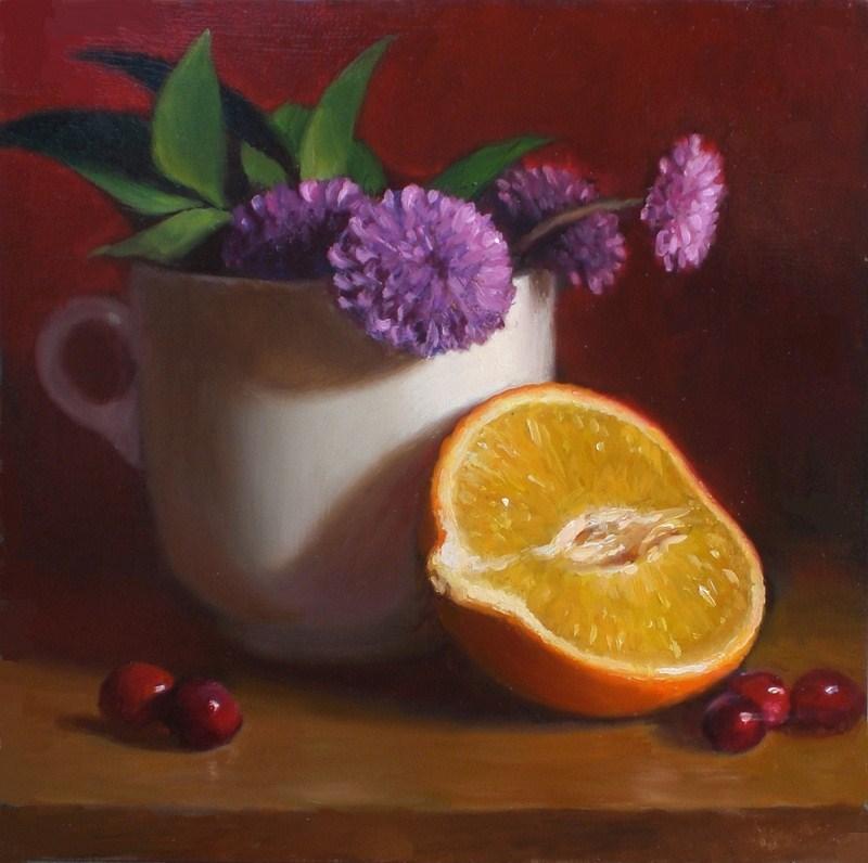 """""""Mums with Orange Half"""" original fine art by Debra Becks Cooper"""