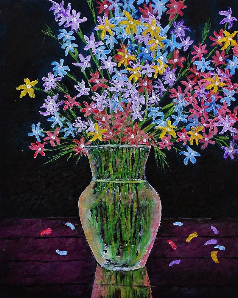 """""""Glass Water Vase with Flowers"""" original fine art by Mike Caitham"""