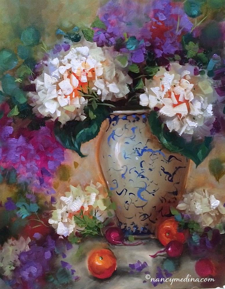 """California Blooming Radishes and Hydrangeas and an International Art Painting Event - Nancy Medina A"" original fine art by Nancy Medina"