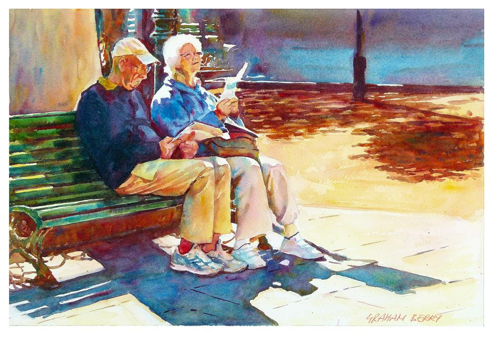 """Couple reading"" original fine art by Graham Berry"