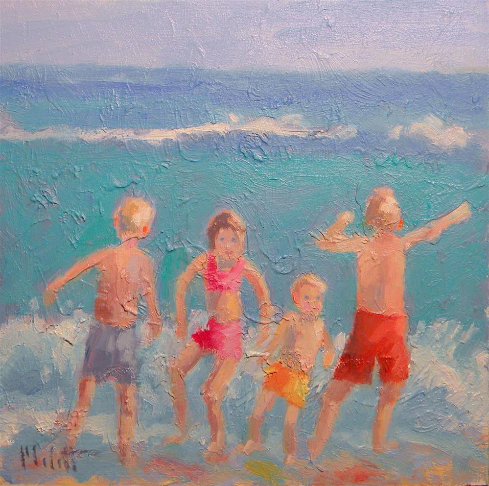 """Children Impressionist Painting Ocean Beach"" original fine art by Heidi Malott"