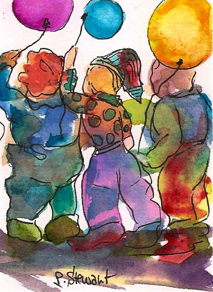 """""""ACEO 3 Kids with Balloons"""" original fine art by Penny Lee StewArt"""