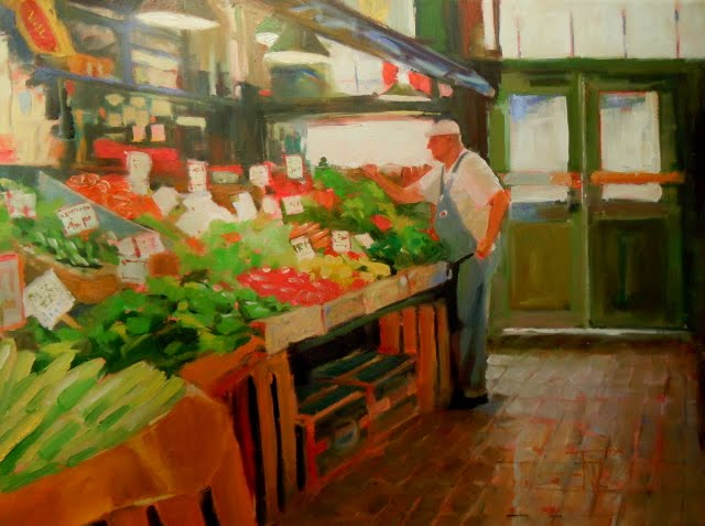 """""""Picked Fresh  produce vendor at Pikes Place Market, Seattle, Wa."""" original fine art by Robin Weiss"""