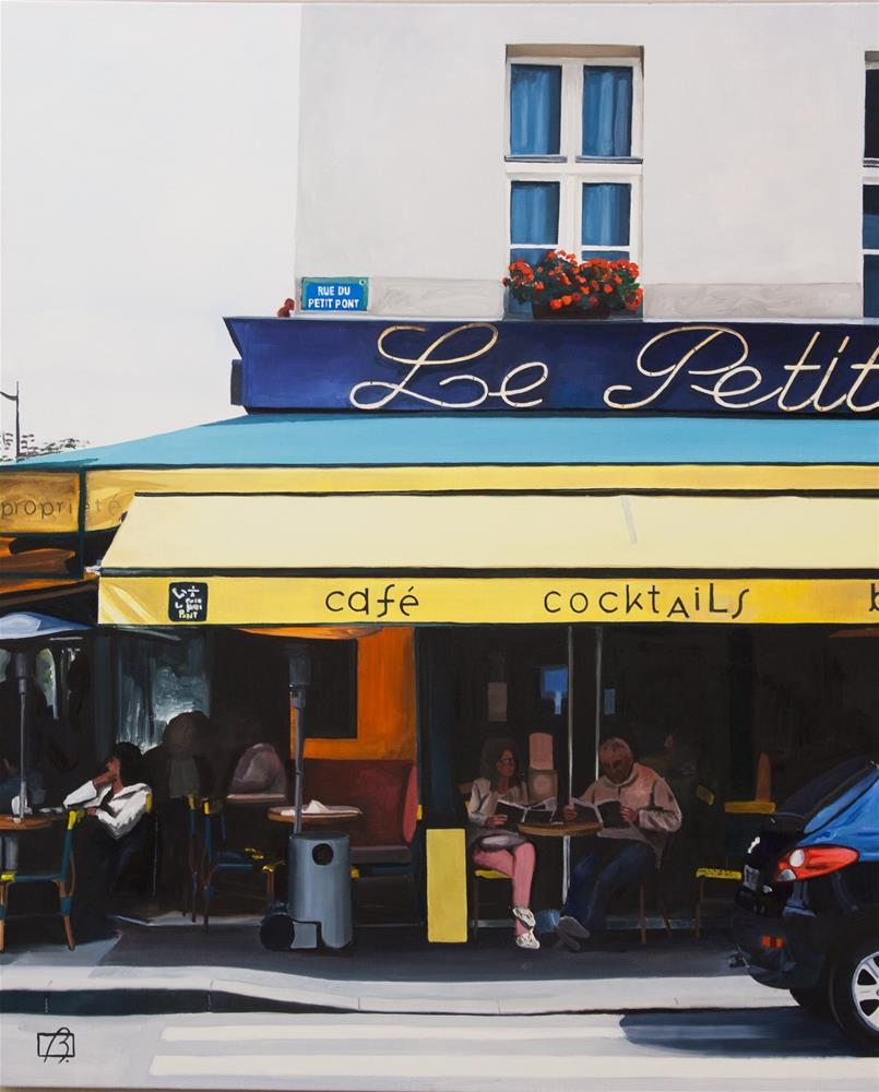 """""""Café Le Petit Pont"""" original fine art by Andre Beaulieu"""