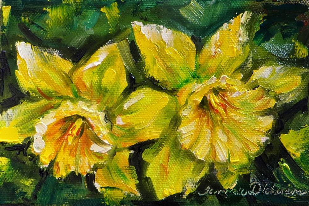 """""""Daffodil Pair in Palette Knife"""" original fine art by Tammie Dickerson"""