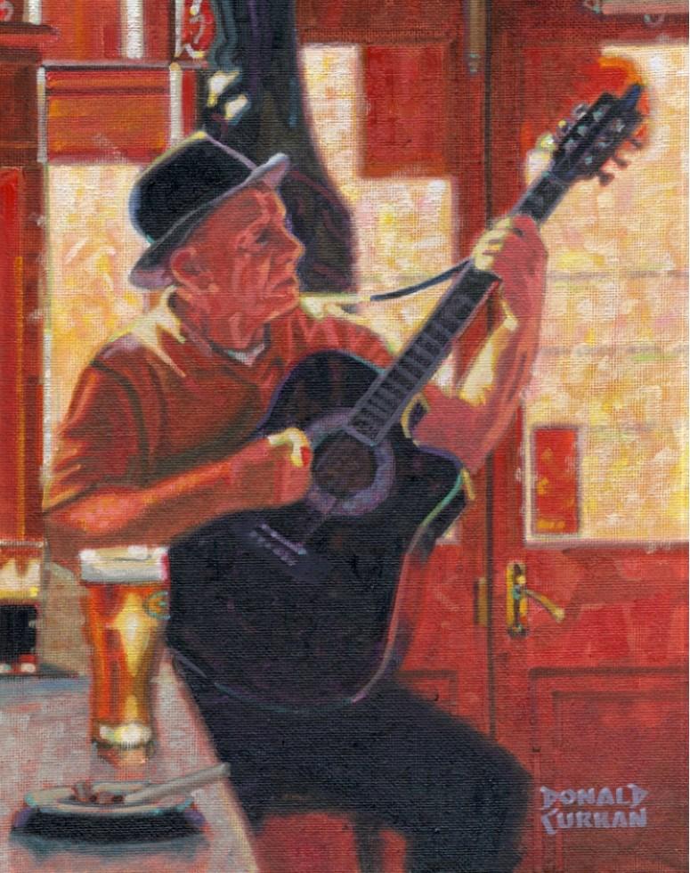 """Guitar Man"" original fine art by Donald Curran"
