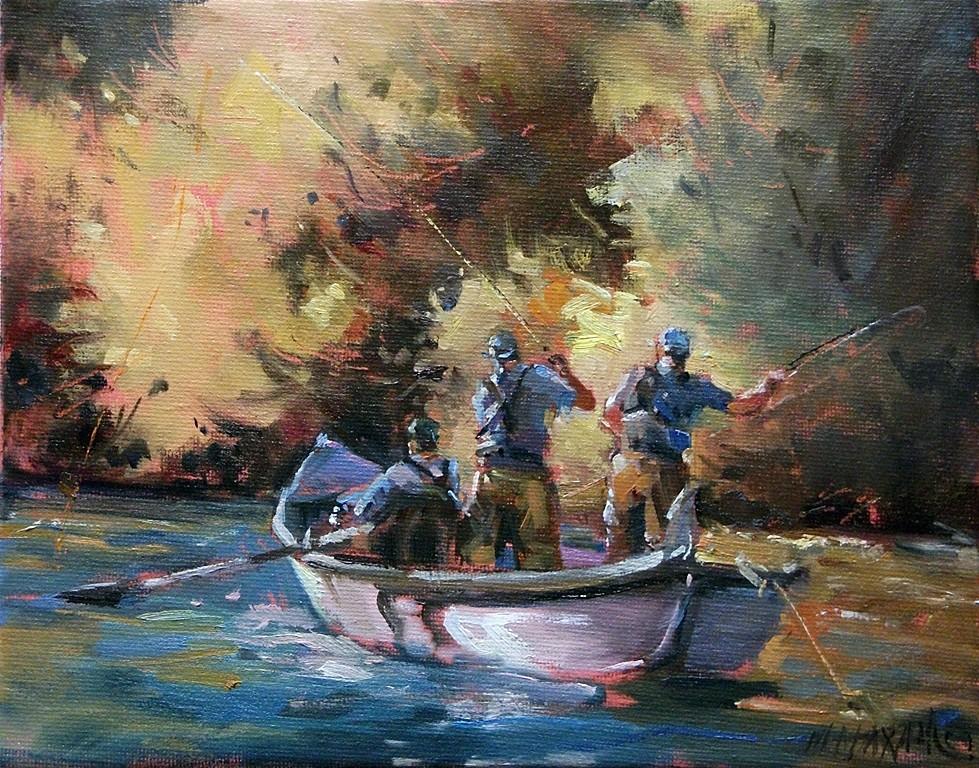 """Three Men In A Boat"" original fine art by Mary Maxam"