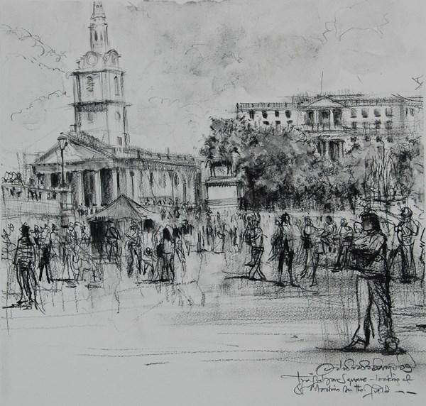 """Sketch of Summer Crowds, Trafalgar Square"" original fine art by Adebanji Alade"