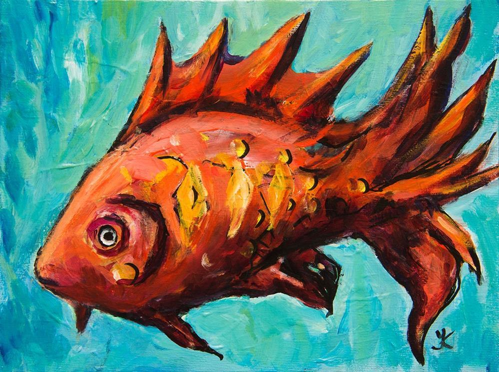 """Red Fish"" original fine art by Yulia Kazansky"