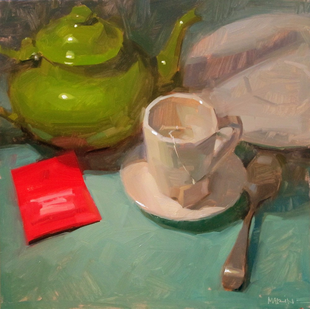 """Tea Time"" original fine art by Carol Marine"