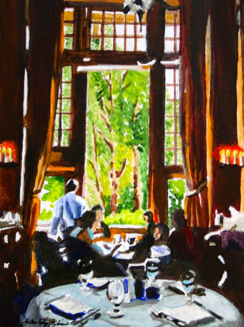"""""""Lunch at the Ahwahnee"""" original fine art by JoAnne Perez Robinson"""