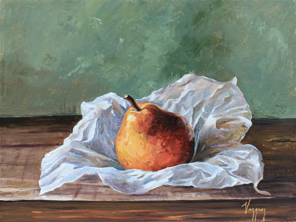 """""""Still life with pear"""" original fine art by Marco Vazquez"""