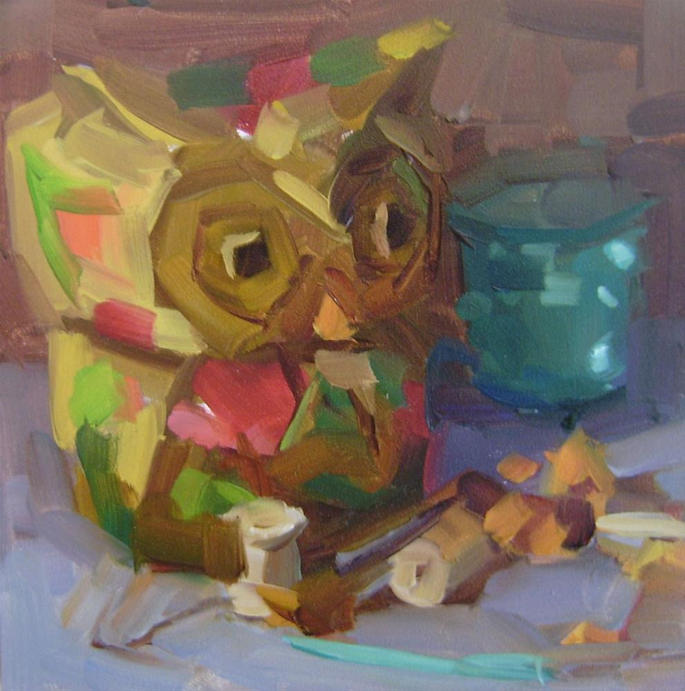 """Still Life with Owl"" original fine art by Holly Storlie"