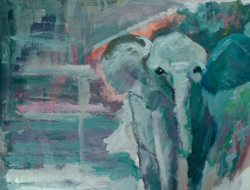 """Elephant"" original fine art by Ann Rudd"