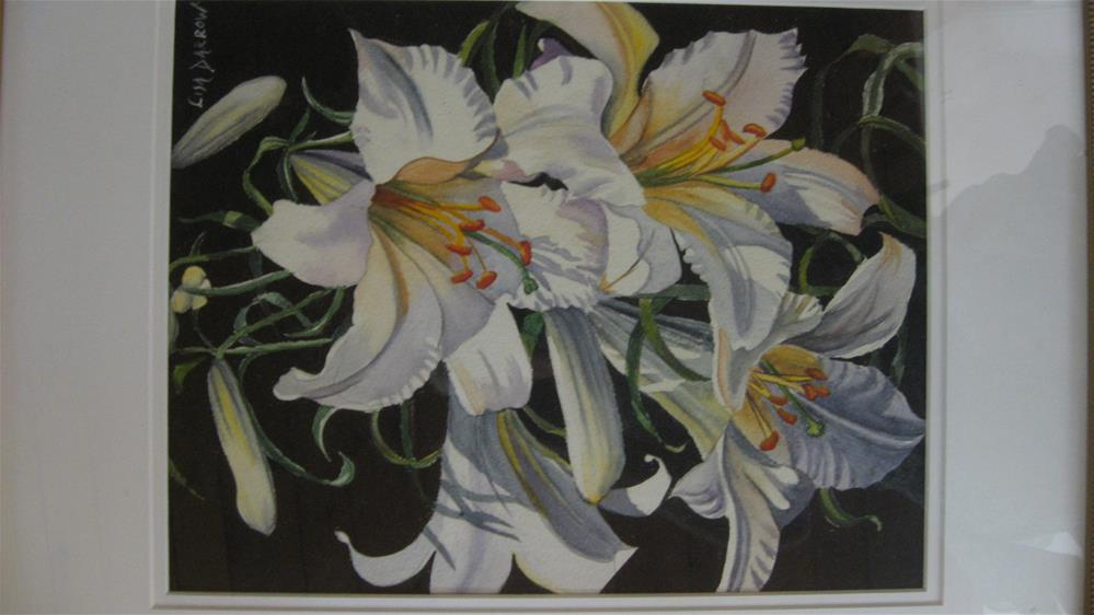 """White LILLIES"" original fine art by Lisa Darrow"