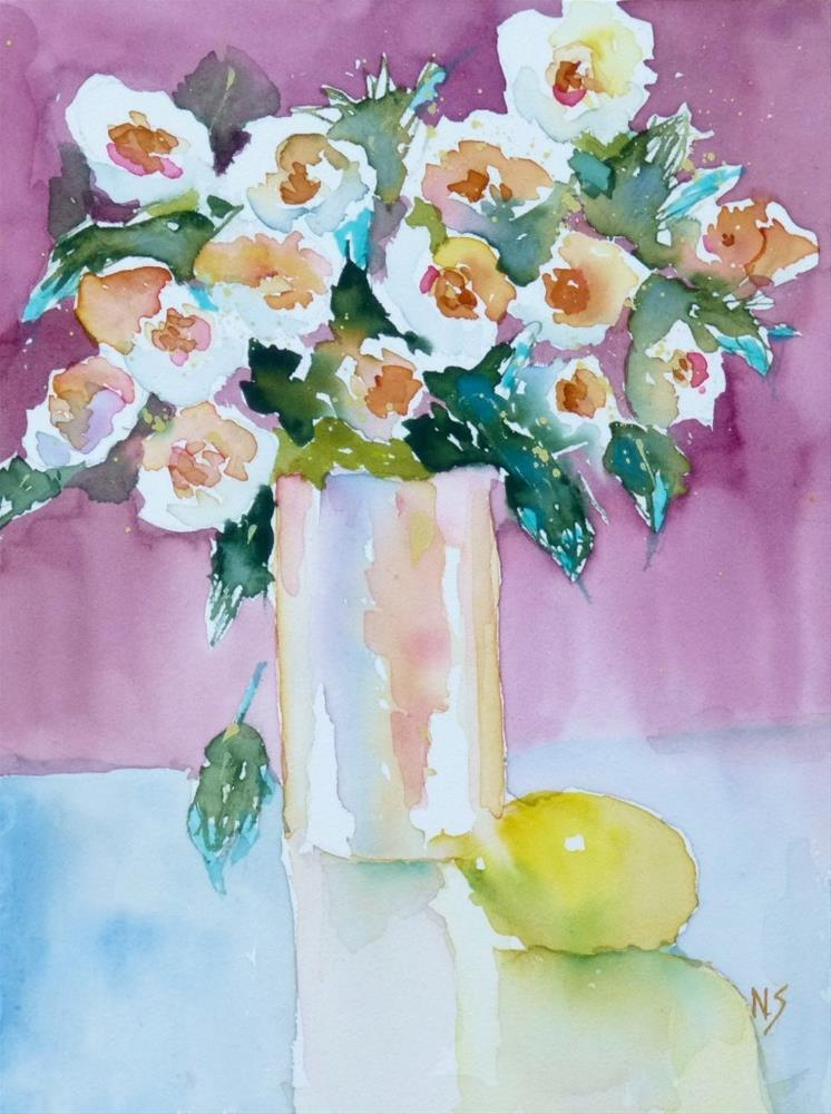 """Flowers with Lemon 14061"" original fine art by Nancy Standlee"