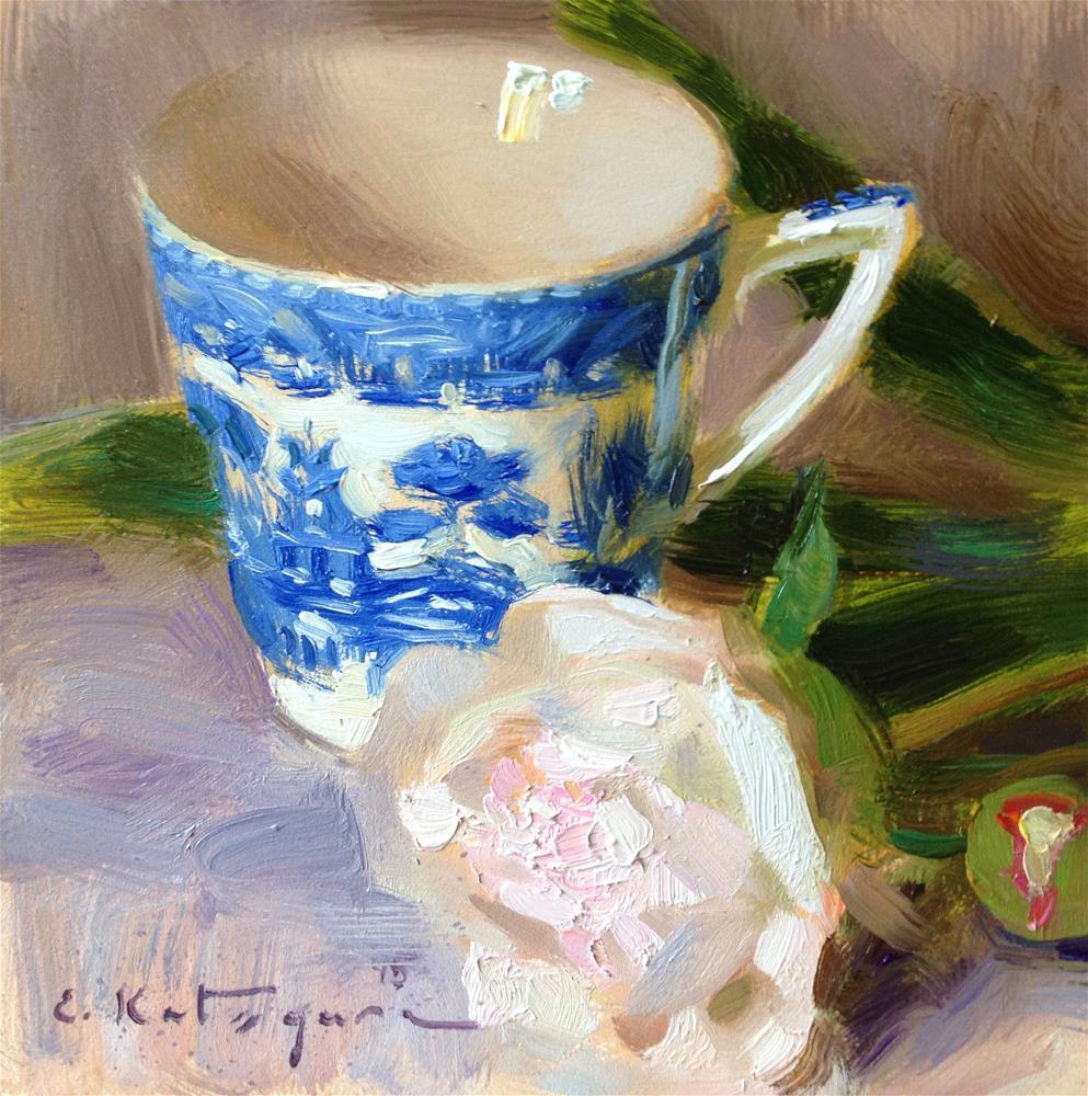 """Blue Cup and Peony"" original fine art by Elena Katsyura"