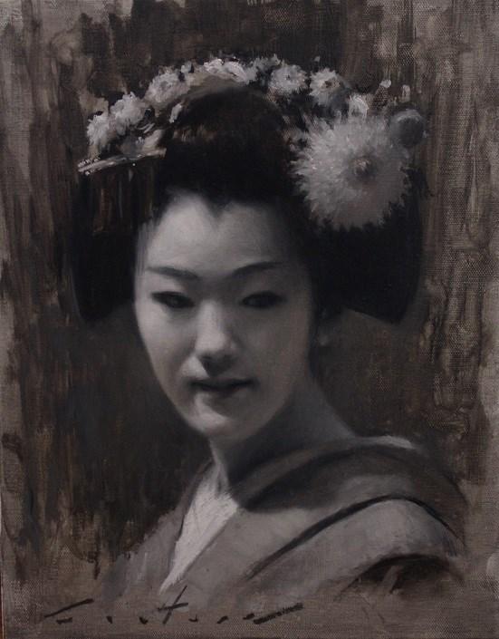 """Maiko Tomitae Tonal Study"" original fine art by Phil Couture"