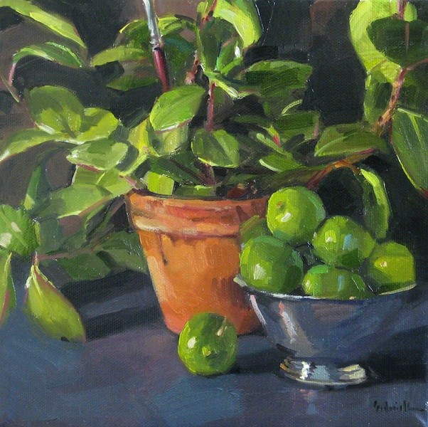 """Going Green still life daily painting of limes and plant original oil on canvas"" original fine art by Sarah Sedwick"