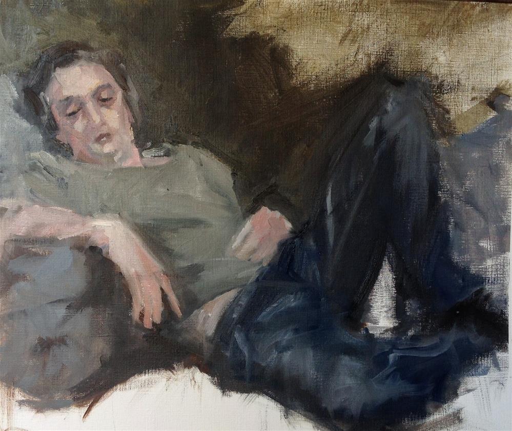 """after work"" original fine art by Christine Bayle"
