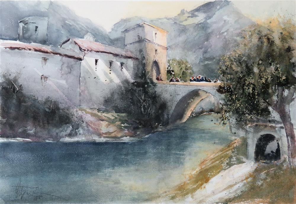"""Abbey Genga San Vitore, Italy"" original fine art by Christa Friedl"