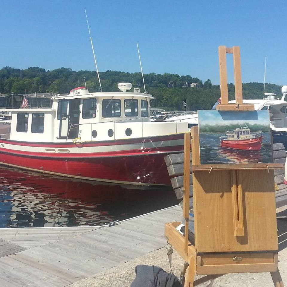 """""""A Tug at Sister Bay"""" original fine art by Tammie Dickerson"""