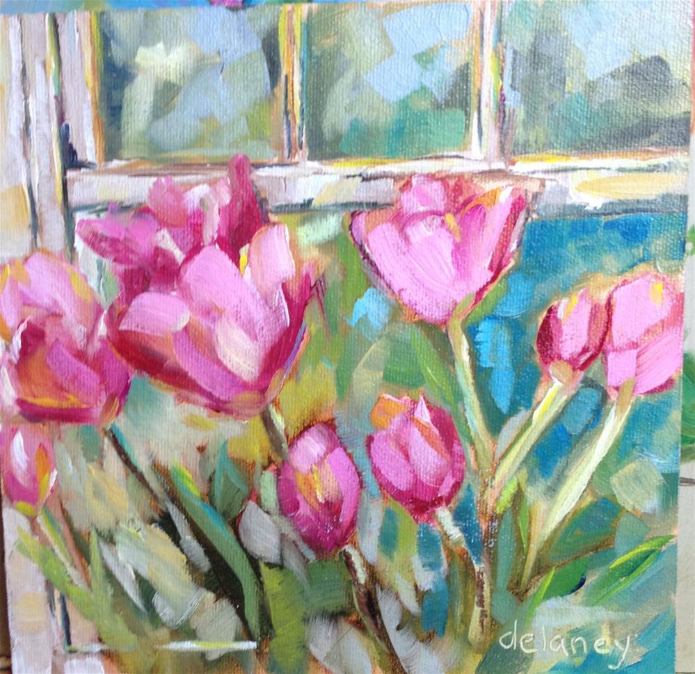 """""""Flowers in the window"""" original fine art by Jean Delaney"""