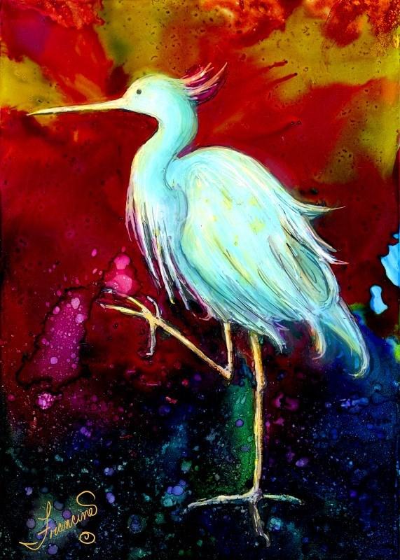 """Blue Heron"" original fine art by Francine Dufour~Jones"