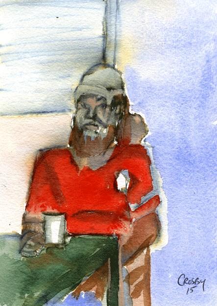 """Lone Diner Reluctant Model"" original fine art by Donna Crosby"